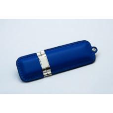 USB флешка из кожи  синего цвета на 4 Гб