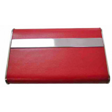 Горизонтальная металлическая визитница с красной  искусственной кожей.