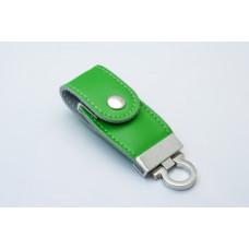 Флешка с экокожей - зеленая на 32 Гб