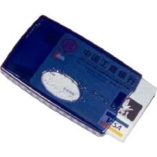 Визитница с роликовым механизмом из прозрачного пластика синего цвета для визиток и кредитных карт.