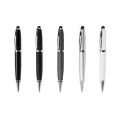 Флешка ручка со стилусом, цвет - черный (мат) на 16 Гб