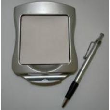 Блок для заметок из серебристого пластика с ручкой